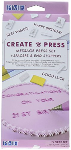 PME CP302 Message Press Set for Cake Decorating, Standard, White