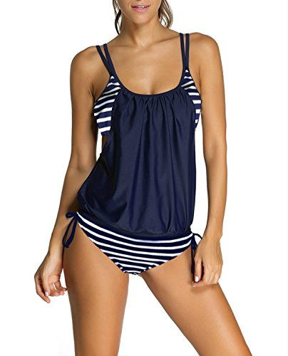 EVALESS Women's Floral Printed Two Pieces Relaxed Blouson Tie Tankini Swimsuit XX-Large Size Navy