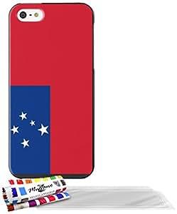 """Carcasa Flexible Ultra-Slim APPLE IPHONE 5 de exclusivo motivo [Bandera Samoa ] [Negra] de MUZZANO  + 3 Pelliculas de Pantalla """"UltraClear"""" + ESTILETE y PAÑO MUZZANO REGALADOS - La Protección Antigolpes ULTIMA, ELEGANTE Y DURADERA para su APPLE IPHONE 5"""