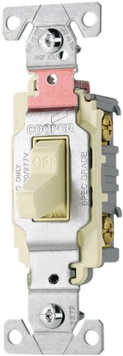 Eaton CS120LA 20-Amp 120/277-volt Commercial Grade Single Pole Compact Toggle Switch with Side Wiring, Light Almond -
