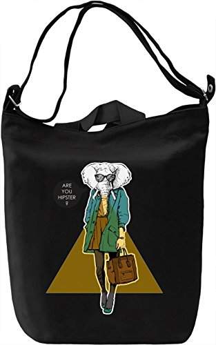 Hipster elephant Borsa Giornaliera Canvas Canvas Day Bag| 100% Premium Cotton Canvas| DTG Printing|