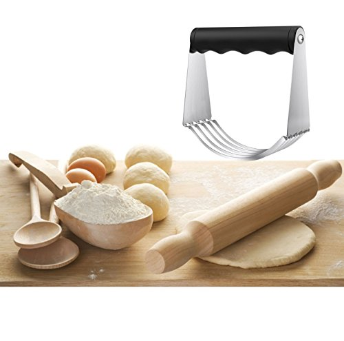 Stainless Steel Pastry Cutter Dough Blender with 5 Blades for Mixing Eggs Flour Butter, Baking Tools with Soft Grip Handle