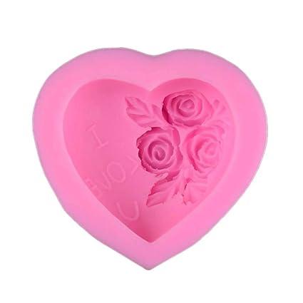BESTONZON Molde de rosa en forma de corazón Pastel de Navidad Fondant Moldes de silicona