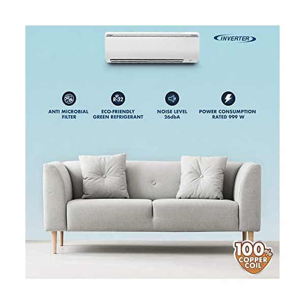 Daikin 1 Ton 5 Star Inverter Split AC (Copper, Anti Microbial Filter, 2020 Model, FTKG35TV, White) 2021 July Split AC with inverter compressor: Variable speed compressor which adjusts power depending on heat load. It is most energy efficient and has lowest-noise operation 1.0 Ton Energy Rating: 5 Star: , Annual Energy Consumption (as per energy label): 577 units, ISEER Value: 4.7