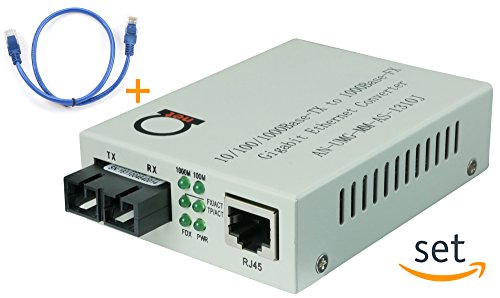 Multimode Gigabit Fiber Media Converter – Built-In Fiber Module 2 km (1.24 miles) SC – to UTP Cat5e Cat6 10/100/1000 RJ-45 – Auto Sensing Gigabit or Fast Ethernet Speed – Jumbo Frame – LLF Support