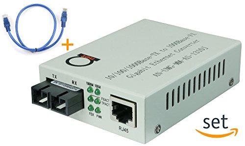 Multimode Gigabit Fiber Media Converter - Built-In Fiber Module 2 km (1.24 miles) SC – to UTP Cat5e Cat6 10/100/1000 RJ-45 – Auto Sensing Gigabit or Fast Ethernet Speed - Jumbo Frame - LLF Support Cat5e Network Interface Module