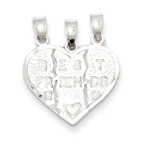 925 Sterling Silver Best Friend 3-piece break apart Heart Charm 22mmx18mm