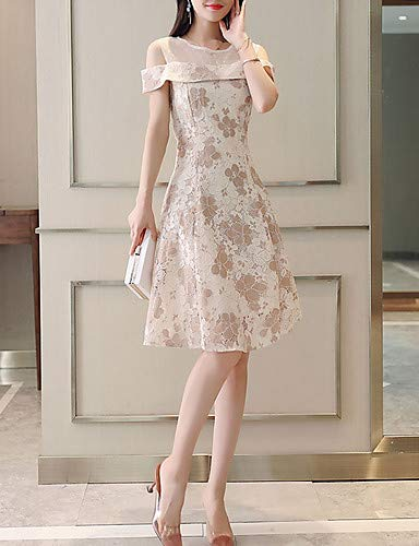 Women's Basic Sheath Dress - Floral Geometric Lace YFLTZ
