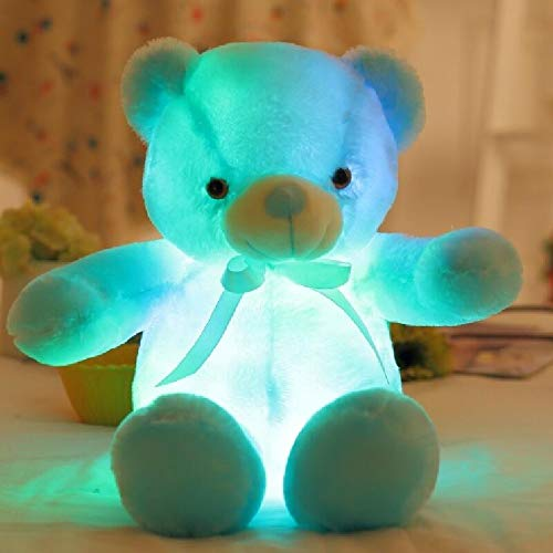 MIIA Teddy Bear - Light Up Led Teddy Bear Stuffed Animals Plush Toy Colorful Glowing Teddy Bear Gift for Kids - 20 Inch Blue - Pink Shower Tatty Army Baby Farting Inapropriate Size Meddy from MIIA