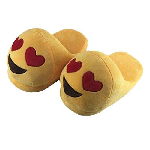 Lath.Pin - Pantuflas Kigurumi de peluche Emoji unisex para adulto, zapatos de Cosplay, disfraz para Halloween Corazón