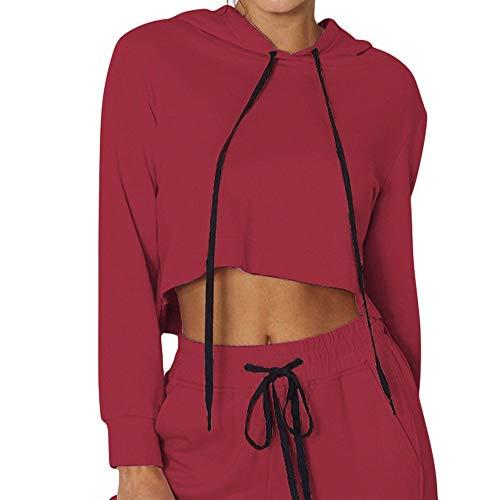 Pullover Sweaters for Women,Women's Activewear,Halloween Skeleton Fire Kangaroo Blouse,Wine,L ()
