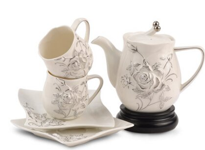 (Hand-carved ceramic coffee cup and saucer suit flower tea silver medals Masaetsu ( a pot 2 cups 2 Disc))