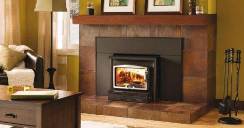 Osburn 1600 Wood Insert with Brushed Nickel Door Overlay, Medium Faceplate and Black Trim Kit (32 X 44)