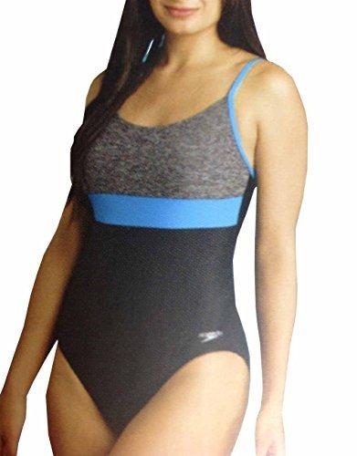 (Speedo Women's Ultraback Racerback Athletic Training One Piece Swimsuit (Heather Grey, 12))