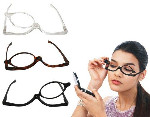 Schminkbrille Sehstärke 1,5 2 2,5 3 3,5 4 dpt Make Up Brille Schminkhilfe KBV (2.0 Dioptrin, Klar)
