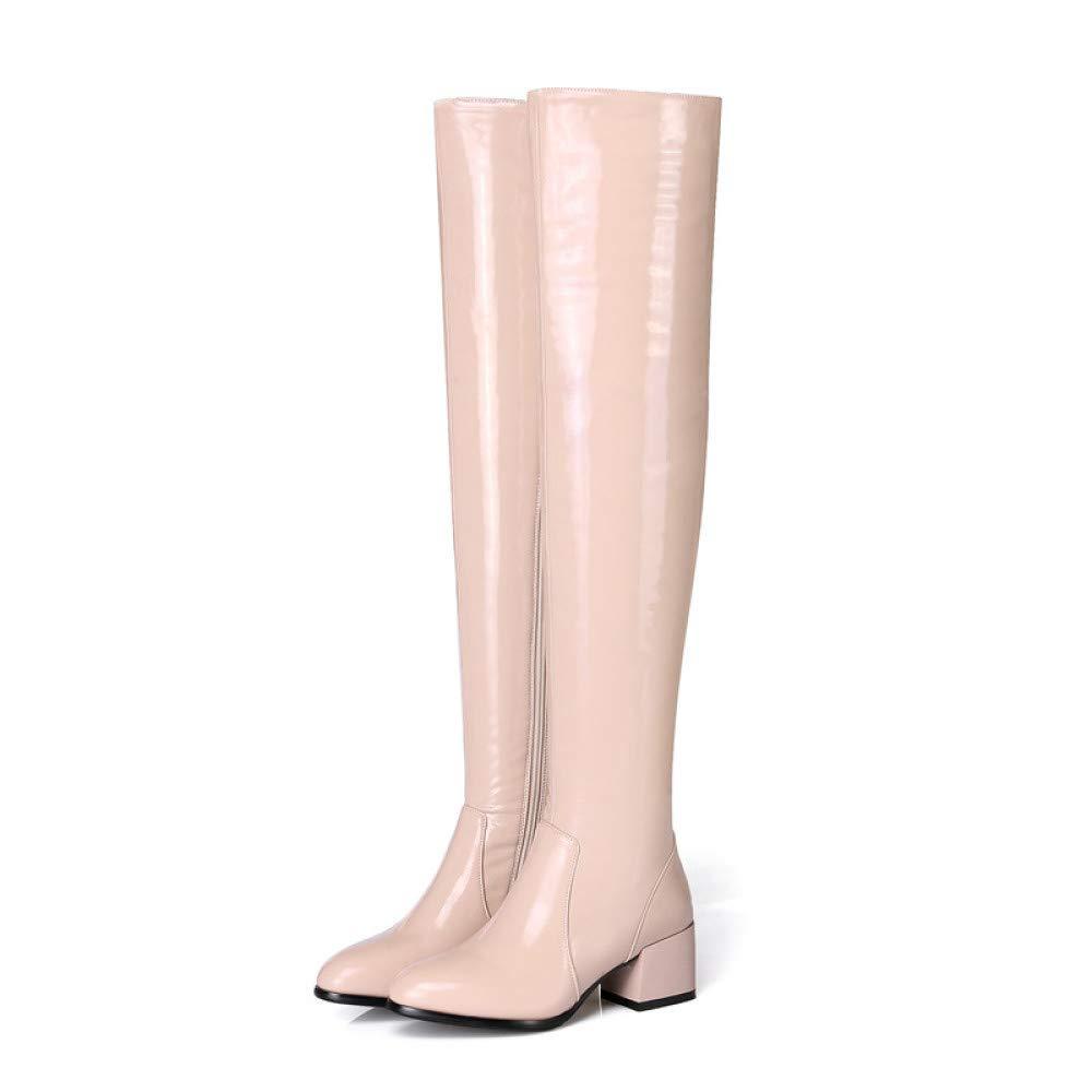 Nuovo Donna Sopra Il Ginocchio Alto Pelle Sintetica Tagliare Medio Block Heel Scarpe Le Signore Stivali Elasticizzati AOOEL