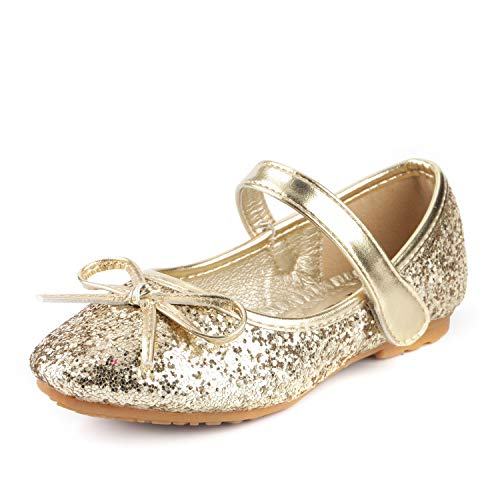 Nova Utopia Toddler Little Girls Ballet Flat Shoes,NF Utopia Girl NFGF312N2 Gold 10 (Gold Shoes Toddler)