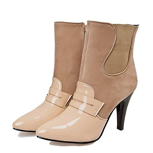 High Stiefel Niedrige Aprikose Heels Spitze Zehe Spitzen Allhqfashion Materialien Mischung Feste Frauen geschlossene WqPYwnR6