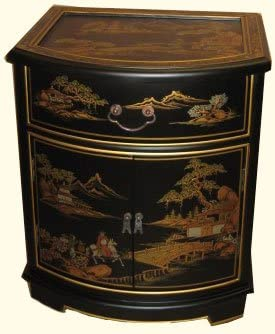 Oriental End Table in Mahogany with Glass top and Luxuriously Soft Felt Lined Drawer -24 H.
