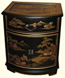 Oriental End Table in Mahogany with glass top and luxuriously soft felt lined drawer -24″ H. For Sale