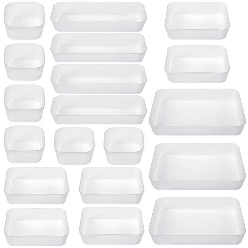 Mebbay 19 Pack Drawer Organizer Desk Drawer Organizer Trays with 4 Different Sizes for Make up Bathroom Kitchen Bedroom…