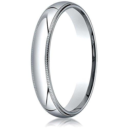 Platinum 4mm Slightly Domed Standard Comfort-fit Wedding Band / Ring with Milgrain Size 8 (Wedding Milgrain Platinum Domed Band)