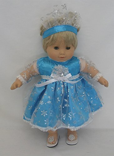 WDC Princess Elsa Dress with Soft Crown. Fits 15 Inch Dolls Like Bitty Baby and Bitty Twin