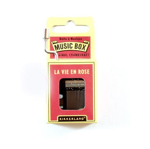 KIKKERLAND Happy Birthday Crank - Caja de música, La Vie En Rose, Plateado, 1