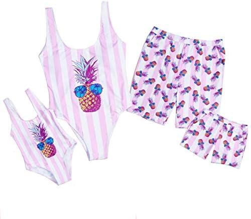 Baonmy Family Matching Swimwear Daddy Mommy and Me Bikini Bathing Suit Boys Swim Trunks