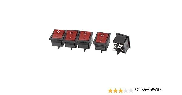 125V AC 20A 250V apagado DPST Barco Interruptor oscilante 16A Hrph 5pcs interruptores rojos Iluminado Luz de encendido