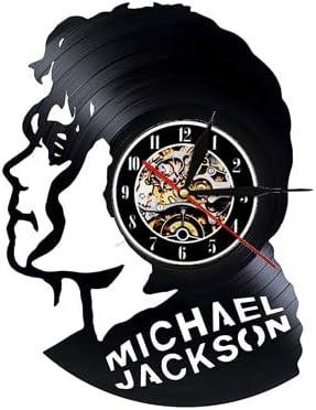 FDGFDG Michael Jackson Reloj de Pared Diseño Moderno Tema Musical Pegatinas 3D Pop King Vinyl Record Relojes Reloj de Pared Decoración para el hogar Regalo para Hombre
