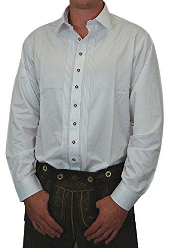 Edles Trachtenhemd Cornelius Slim Fit weiß mit Zierbiesen und Kontraststreifen im Kragen, Größe:Halsgröße 37/38 (S);Farben:weiss/dunkelrot