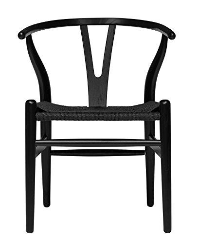 (Hans Wegner Wishbone Style Woven Seat Chair (Black with Black Cord) )