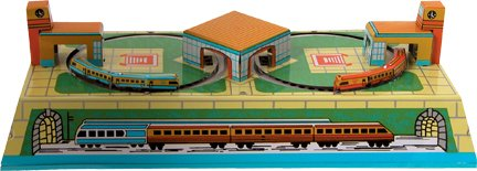Classic Tin Wind-Up Key Russian Train Station Toy (Trains run through tunnels and service stations). (Tin Train Station)