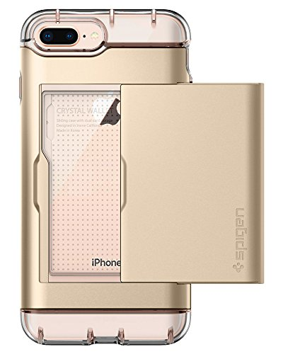Spigen Crystal Wallet iPhone 8 Plus / iPhone 7 Plus Case with Slim Dual Layer Wallet Design and Card Slot Holder for Apple iPhone 8 Plus (2017) / iPhone 7 Plus (2016) - Champagne Gold
