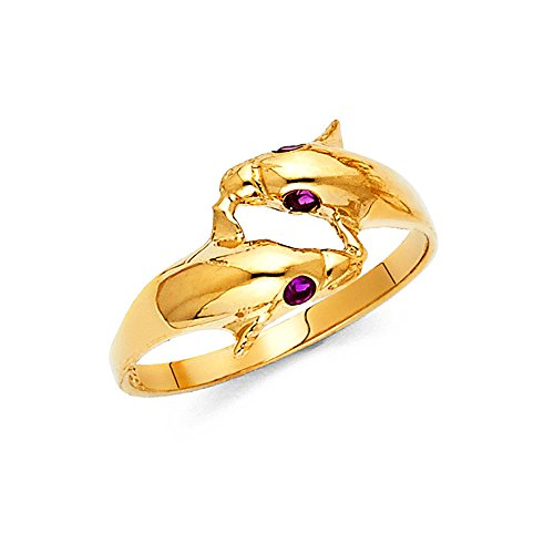FB Jewels 14K Yellow Gold Cubic Zirconia CZ Fashion Anniversary Dolphin Ring Size 7.5