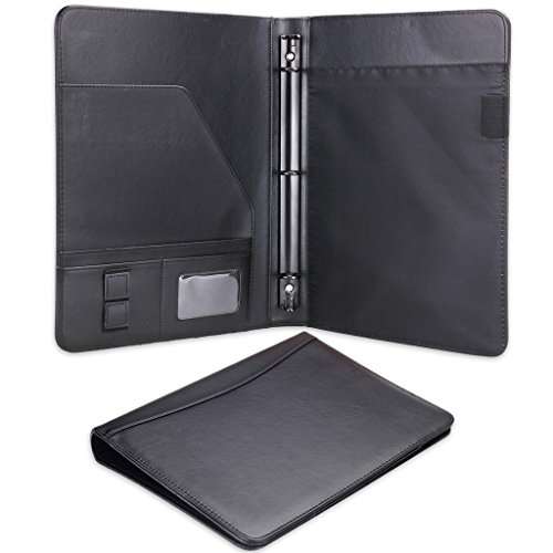Plinrise PU Leather File Folders For Letter Size Writing Pad Portfolio And Case Ring Binders A Multifunction Folder For Business Men Women Teacher Gift