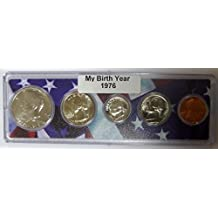 1976 - 5 Coin Birth Year Set in American Flag Holder Uncirculated