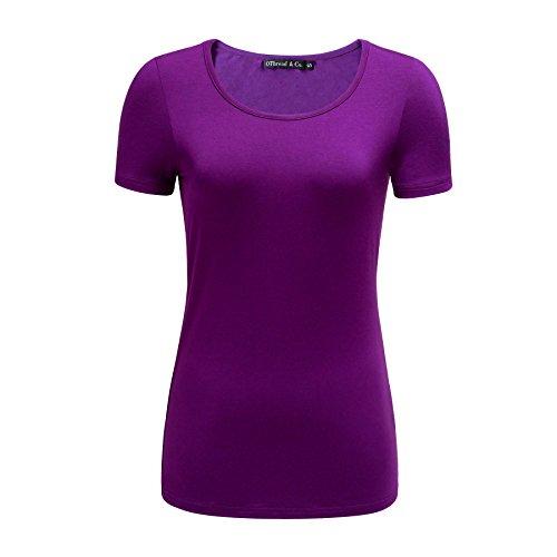 OThread & Co. Women's Short Sleeve T-Shirt Scoop Neck Basic Layer Spandex Shirts (Medium, Purple)