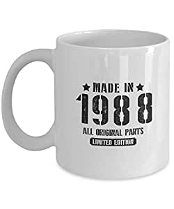Funny 29th birthday gifts for Husband, Dad- Made in 1988 All original parts Limited edition- Gag gift ideas mug ForFor Him, Her - On thanksgiving, white 11oz ceramic cup