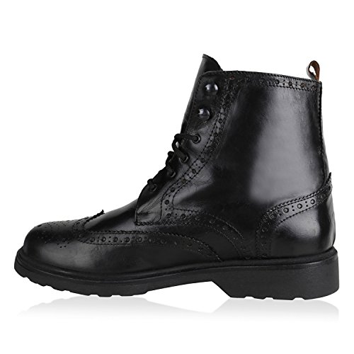 Herren Worker Boots Schnürstiefeletten Leder-Optik Blockabsatz Profilsohle Schnürer Schuhe Schnallen Schnürboots Flandell Schwarz Black