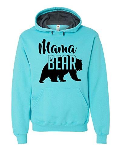 Mama Bear Hoodie Mom Women Soft Hoodie Adult Unisex Men's Women's Scuba Blue 2X, XX-Large, Scuba Blue