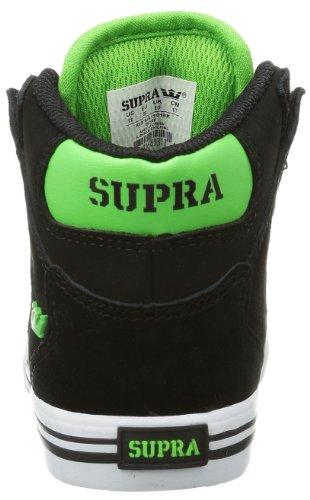 Supra KIDS VAIDER - Altas de cuero niño negro - Schwarz (BLACK / SOFT LIME - WHITE BKL)