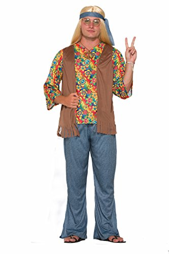 Adults Mens 60s 70s Groovy Peace Flower Power Hippie Costume