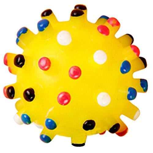 (Xigeapg Pet Dog Yellow Ball Rubber Squeak Squeaker Chew Toss Toy)