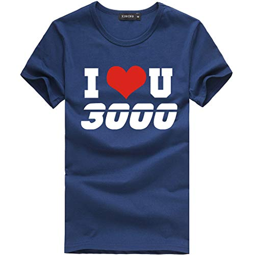 Men Shirt Summer I Love You 3000 Letter Printed Pattern Casual Lapel O-Neck Fashion Short Sleeve Tops Navy M