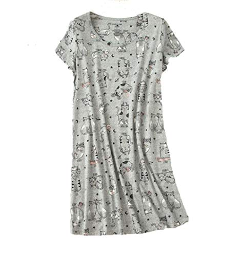 Amoy-Baby Women's Nightgowns Short Sleeves Cotton Sleepwear Print Sleep Shirt XTSY108-Gray Cats-M -