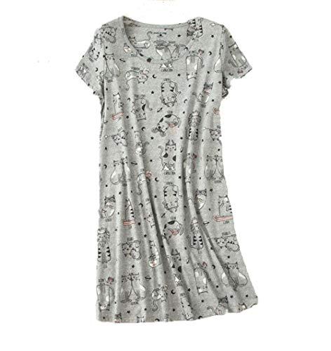 Amoy-Baby Women's Nightgowns Short Sleeves Cotton Sleepwear Print Sleep Shirt XTSY108-Gray Cats-M