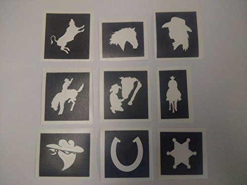 30 x Rodeo & Cowboy stencils for glitter tattoos / airbrush / face painting]()