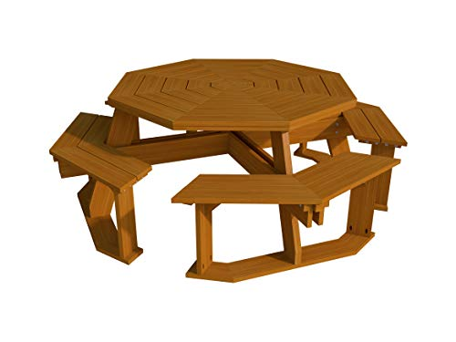 (Octagon Picnic Table Benches Plans DIY Outdoor Patio Furniture Build Your Own)